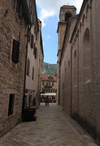 Street in the old town of Kotor (next to the Cathedral of Saint Tryphon).