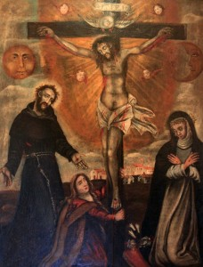A different painting of the Crucifixion, with the sun and moon, a saint (possibly St. Francis of Assisi) with the Stigmata, and another saint with the Stigmata and Crown of Thorns on her (possibly St. Catherine of Siena).