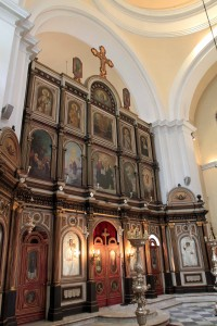 The iconostasis inside the Church of St. Nicholas.