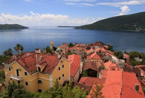 The old town of Herceg Novi, seen from Kanli Kula Fortress.