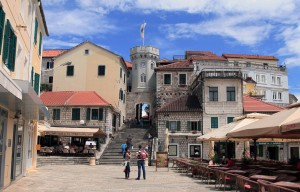 Another view of the Clock Tower and old town gate in Herceg Novi.