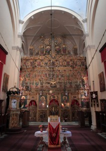 Looking at the iconostasis inside the Great Temple of the Assumption.