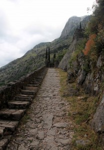 Part of the trail leading up to the fortress.