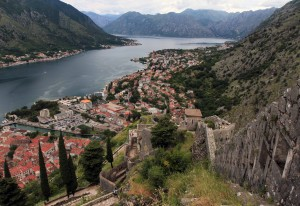 The eastern wall and the Bay of Kotor.
