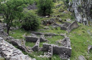 The ruins of the village of Spiljari.