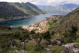 View of the Bay of Kotor from the old pedestrian trail.