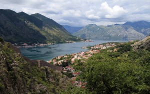 The Bay of Kotor with part of the eastern wall of Kotor in view (on the left).