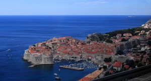 The old city of Dubrovnik, seen from the road leading in to the city.