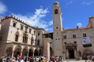 Sponza Palace (on the left) and the Bell Tower (in the center).