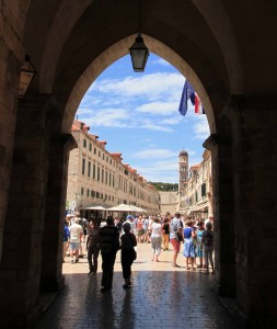 Looking out towards Placa Stradun, from the entranceway to the Old Port.