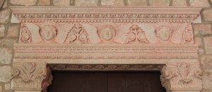 Lintel inside the Dominican Monastery featuring three angels.