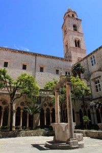 The bell tower seen from the central courtyard inside the Dominican Monastery.