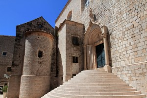 Grand steps leading up to a side door for the Church of St. Sebastian.