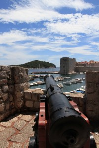 cannon facing Lokrum Island with St. John Fort in view.
