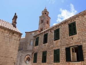 Chapel on the left, building on the right, and the Bell Tower for the Dominican Monastery in the center.
