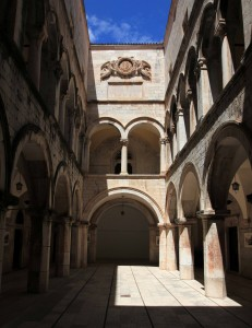 Inside the central courtyard of Sponza Palace.
