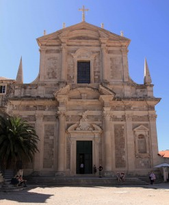 The facade of the Church of St. Ignatius in Dubrovnik.