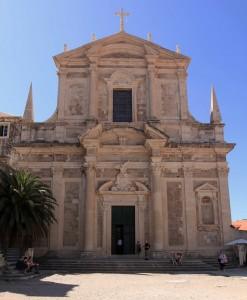 The facade of the Church of St. Ignatius in Dubrovnik.