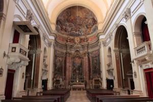 Looking toward the altar inside the Church of St. Ignatius.