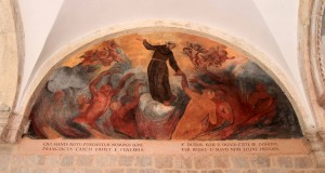Painting on the cloister wall inside the Franciscan Monastery.