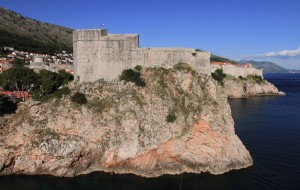 Fort Lovrijenac with the old city of Dubrovnik in the background.