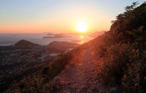 The sun setting on the trail leading down from Mount Srd to Dubrovnik.