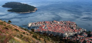 The old city of Dubrovnik and Lokrum Island seen from the trail on Mount Srd.