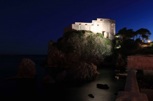 Fort Lovrijenac at night.