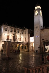 Sponza Palace and the Bell Tower at night.