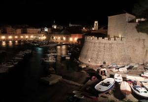 The Old Port and marina at night.