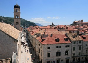 Placa Stradun in the old city of Dubrovnik, seen from the city wall.