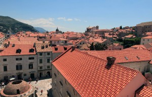Onofrio Fountain and rooftops seen from the western part of the city wall.