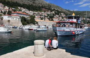The ferry to Lokrum, coming in to dock at the Old Port.
