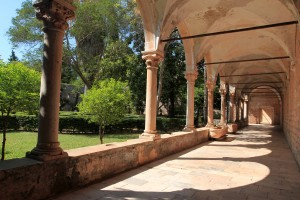 The cloister in the Benedictine Monastery on Lokrum Island.