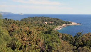 The Benedictine Monastery and southern part of Lokrum Island, seen from Fort Royal.