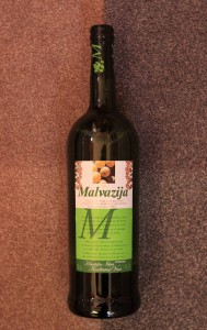 1-liter bottle of Croatian white wine made from Malvasia grapes.