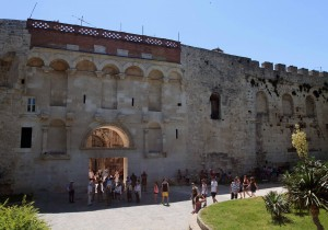 The Golden Gate (north entrance) of Diocletian's Palace (in Split), built facing north towards Salona, the capital of the Roman province of Dalmatia.