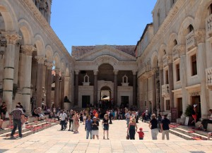 View of the Peristyle (the central square of the Palace), towards the entrance of Diocletian's quarters.