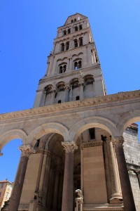The Bell Tower for the Cathedral of Saint Domnius (the Cathedral's structure was originally built in 305 AD as the Mausoleum of Diocletian; the Bell Tower was added in 1100 AD, though radically changed in 1908 AD).