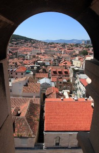 Looking out of one of the Bell Tower's windows.