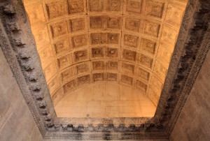 The coffered barrel-vaulted ceiling inside the old Temple of Jupiter.