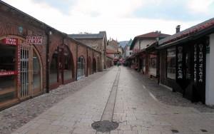 Street next to the Gazi-Husrev Beg Bezistan in Sarajevo.