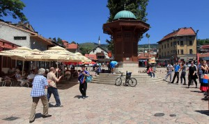 Sarajevo's Sebilj (a pseudo-Ottoman-style wooden fountain) in the center of Baščaršija Square.
