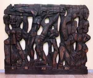 Wooden sculpture depicting the final four Stations of the Cross (found inside the Church of Saint Anthony of Padua).