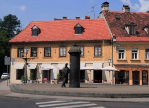 Sculpture and street corner in Zagreb.