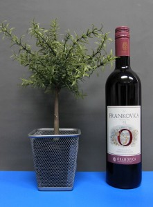 "Bottle of Croatian red wine made from Frankovka (also known as ""Blaufränkisch"") grapes."