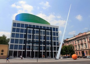 A contemporary art building and sculptures in Zagreb.