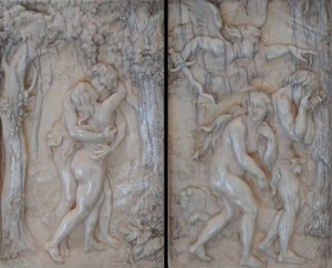 Ivory reliefs depicting Paradise and the Expulsion, by Christof Angermair (1632 AD).