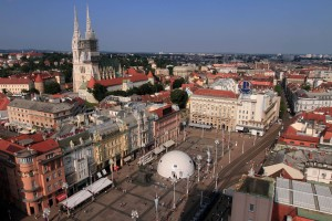 View of Ban Jelačić Square and the Cathedral from the Zagreb Eye Viewpoint.