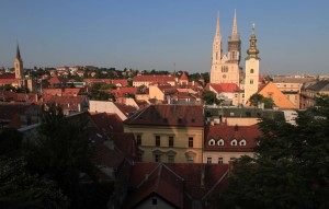 Zagreb Cathedral seen from Gornji Grad.